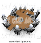 Clip Art of a 3d Team of White Business People in a Meeting Around a Wooden Dollar Shaped Table by 3poD