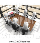 Clip Art of a 3d Team of White People Discussing Statistics at a Table by 3poD