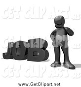 Clip Art of a 3d Thinking Black Rubbing His Chin and Trying to Find a Good Career During a Job Hunt by 3poD
