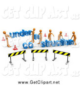 Clip Art of a 3d Under Construction Zone with Orange Men by 3poD