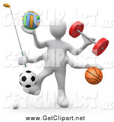 Clip Art of a 3d White Athlete with Gear by 3poD