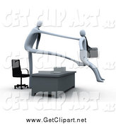 Clip Art of a 3d White Boss Stretching out His Arm and Legs over a Desk to Fire and Kick out an Employee by 3poD