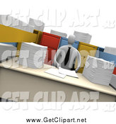 Clip Art of a 3d White Businesman with Stacks of Paperwork and Open File Cabinet Drawers by 3poD