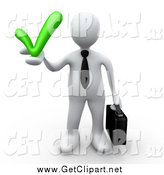 Clip Art of a 3d White Business Man Holding a Grey Check Mark, Symbolizing Approval and Solutions by 3poD