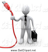 Clip Art of a 3d White Business Man Holding a Red Usb Cable and a Briefcase by 3poD