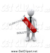 Clip Art of a 3d White Business Man Holding a Solutions Swiss Knife by 3poD