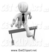 Clip Art of a 3d White Business Man Leaping over a Hurdle by 3poD