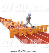 Clip Art of a 3d White Business Man Leaping over Plan, Goal and Profit Obstacles on a Track by 3poD