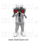Clip Art of a 3d White Business Man Looking Through Binoculars by 3poD