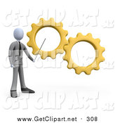 Clip Art of a 3d White Business Man Pointing to Yellow Gears During a Training Course by 3poD