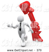 Clip Art of a 3d White Business Man Running from the Toppling Red Word RISK by 3poD