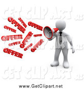 Clip Art of a 3d White Business Man Shouting OFFER Through a Megaphone, Symbolizing Job Opportunities and Sales by 3poD