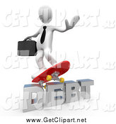 Clip Art of a 3d White Business Man Skateboarding on Debt by 3poD