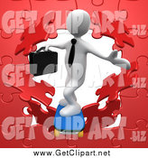 Clip Art of a 3d White Business Man Skateboarding Through a Red Puzzle Wall by 3poD