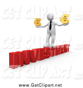 Clip Art of a 3D White Business Man Walking Across the Red Word INVESTMENT and Carrying Two Golden Euro Signs in His Hands by 3poD