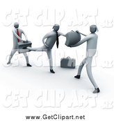Clip Art of a 3d White Business Men Learning to Fight by 3poD