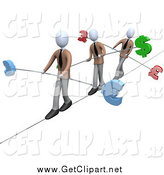 Clip Art of a 3d White Business Men Walking Across a Tightrope with Bars and Euro, Pounds and Dollars at the Ends by 3poD