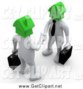 Clip Art of a 3D White Business Men with Green House Heads, Shaking Hands by 3poD