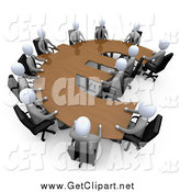 Clip Art of a 3d White Business People in a Meeting at a Wooden Euro Shaped Table by 3poD