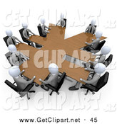 Clip Art of a 3d White Business Team in a Meeting Around a Wooden Yen Shaped Table by 3poD
