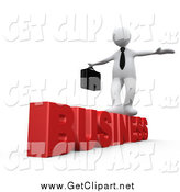 Clip Art of a 3D White Businessman Balancing and Walking on Red Business by 3poD