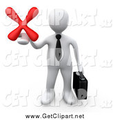 Clip Art of a 3d White Businessman Holding out a Red X Mark by 3poD