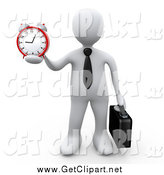 Clip Art of a 3d White Businessman Holding out an Alarm Clock in His Hand by 3poD