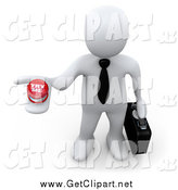 Clip Art of a 3d White Businessman Holding up a Try Me Button, Looking for a Job by 3poD