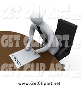Clip Art of a 3d White Businessman Leaning over a Table to Sign a Contract by 3poD