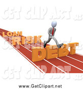 Clip Art of a 3d White Businessman Leaping Loan, Risk and Debt Hurdles on a Race Track by 3poD