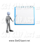 Clip Art of a 3d White Businessman Pointing to a Blank Notepad by 3poD