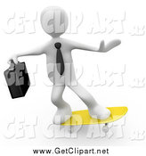 Clip Art of a 3d White Businessman Skateboarding on a Yellow Skateboard by 3poD