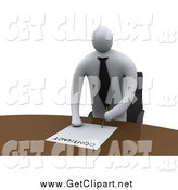 Clip Art of a 3d White Businessman Standing over a Table to Sign a Contract by 3poD
