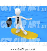 Clip Art of a 3d White Businessman Surfing by 3poD