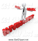 Clip Art of a 3d White Businessman Taking a Risk on the Word Investment by 3poD