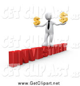 Clip Art of a 3D White Businessman Walking Across the Red Word INVESTMENT with Dollar Symbols by 3poD