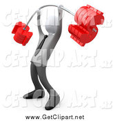 Clip Art of a 3d White Businsess Man Lifting a Heavy Barbell with Dollar Symbol Weights by 3poD