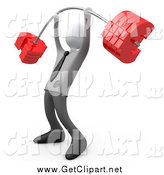 Clip Art of a 3d White Businsessman Lifting a Heavy Euro Barbell by 3poD