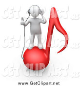 Clip Art of a 3d White Guy Standing on a Red Music Note and Wearing Headphones by 3poD
