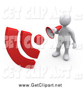 Clip Art of a 3d White Man Announcing with a Megaphone, with Red Signals by 3poD