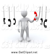 Clip Art of a 3d White Man Answering an Important Call out of Several by 3poD