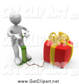 Clip Art of a 3d White Man Blowing up a Gift by 3poD