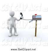 Clip Art of a 3d White Man Holding a Corded Phone from Inside a Mailbox, Symbolizing Fast Service by 3poD