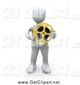 Clip Art of a 3d White Man Holding a Film Reel by 3poD
