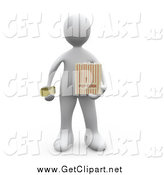 Clip Art of a 3d White Man Holding a Movie Ticket and a Bag of Popcorn by 3poD