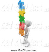 Clip Art of a 3d White Man Holding a Pile of Colorful Puzzle Pieces by 3poD
