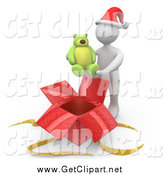 Clip Art of a 3d White Man Holding a Teddy Bear over a Christmas Gift Box by 3poD