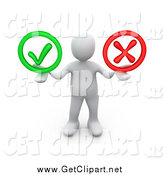 Clip Art of a 3d White Man Holding His Arms out with a Green Check Mark and a Red X in His Hands, Symbolizing Approval and Denial by 3poD