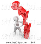Clip Art of a 3d White Man Holding Pushing the Word Savings by 3poD