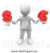 Clip Art of a 3d White Man Holding Red Dollar and Euro Currency Symbols by 3poD
